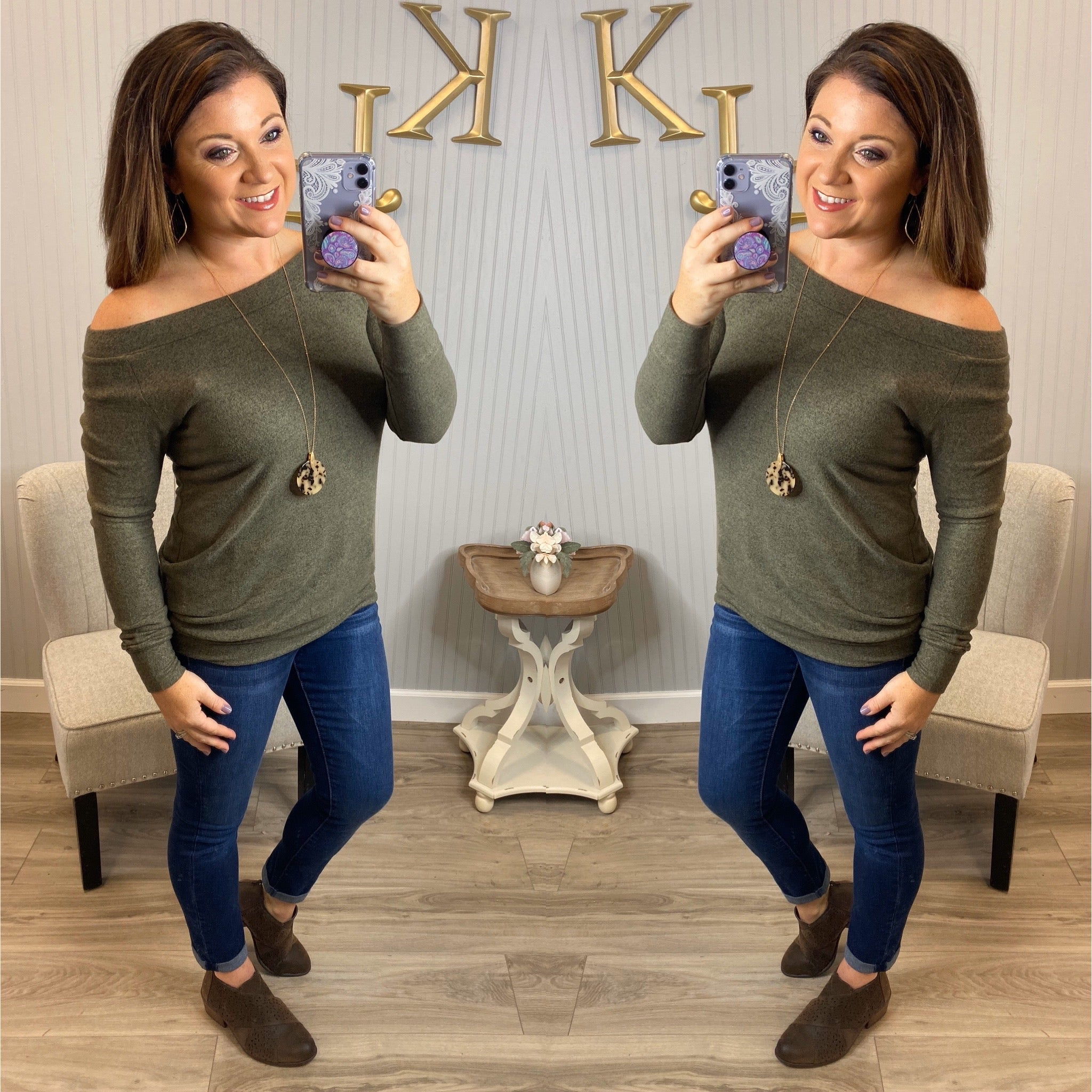 Off shoulder Long Sleeve Tunic