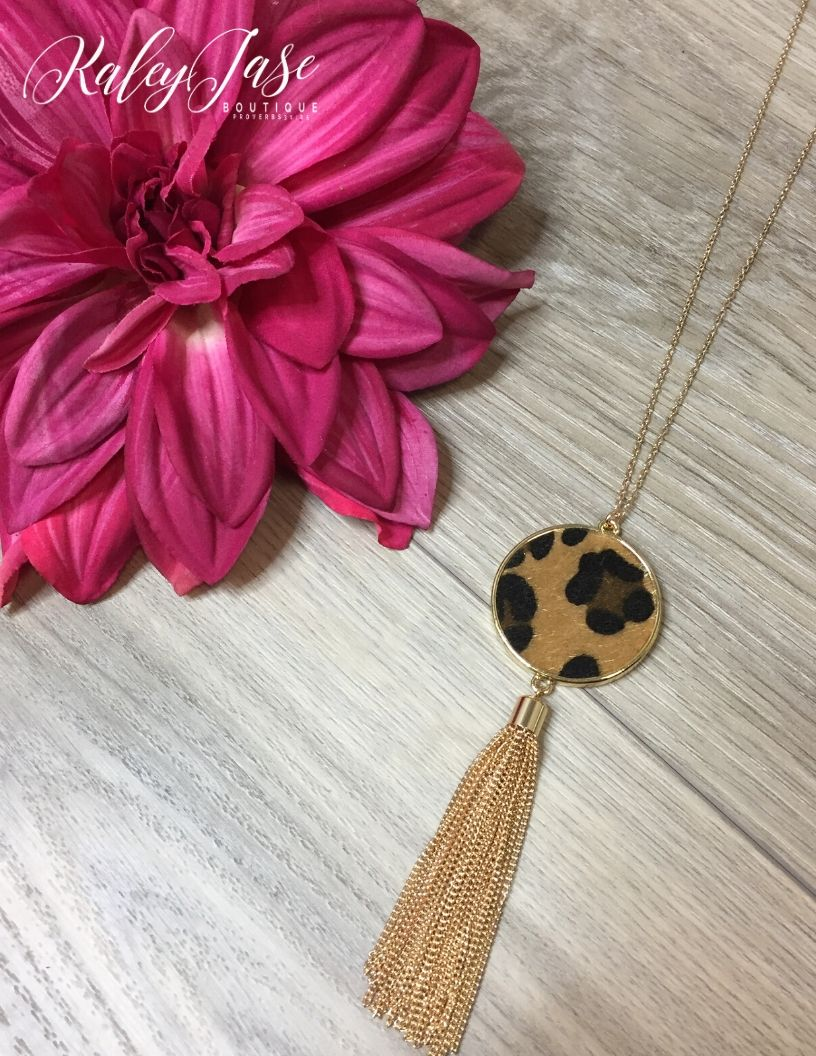 Leopard Fur Tassel Necklace #5