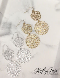 Double Flower Connected Earrings -E8