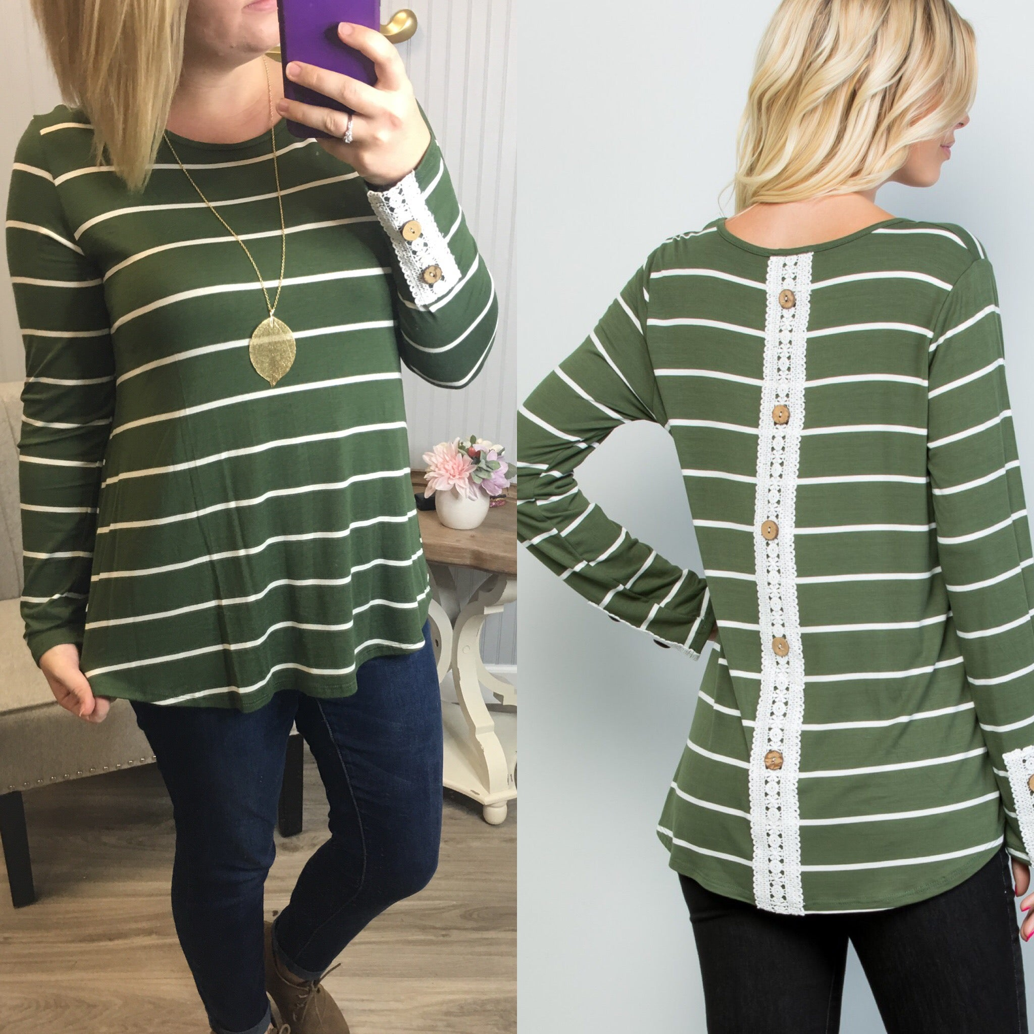 Olive/White Stripe Lace Button Back Top