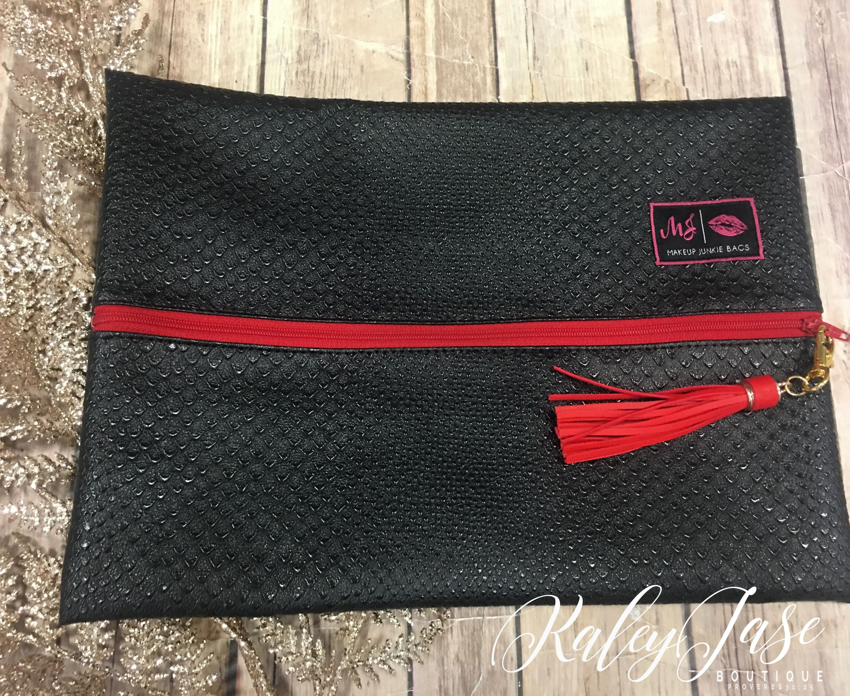 black cobra makeup junkie bag red zipper
