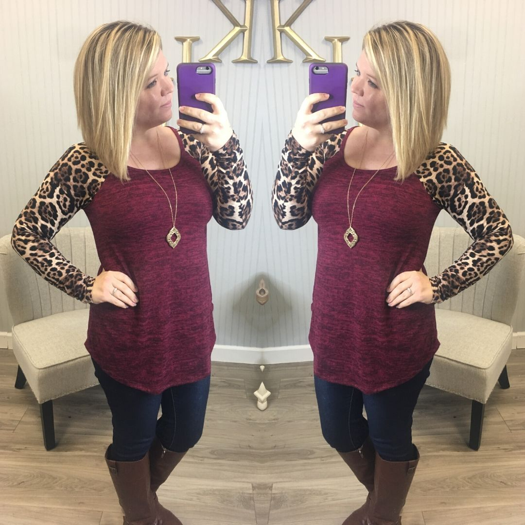 Deal of the Day Leopard Raglan