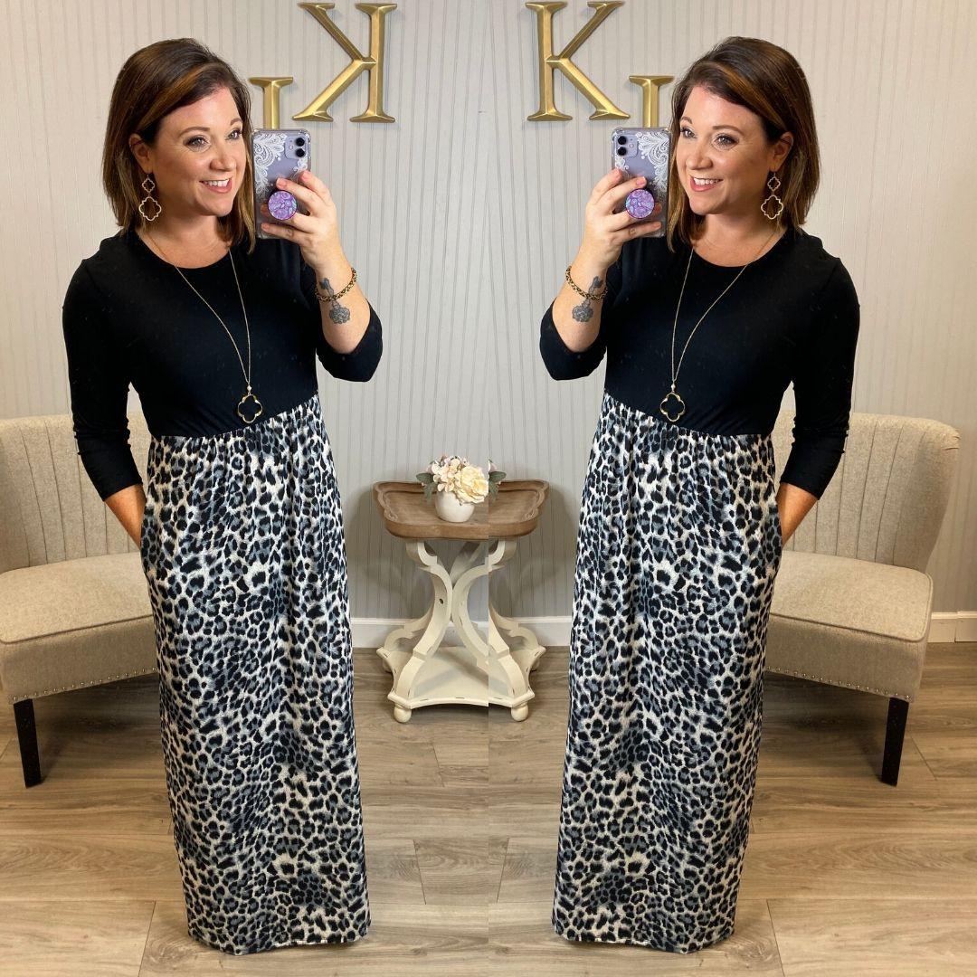 Black/Grey Bottom Leopard Maxi