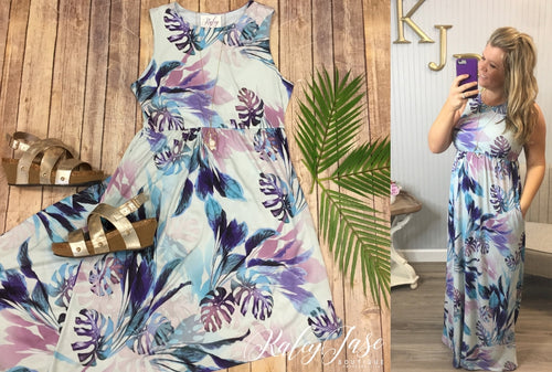 Tropical Mint & Purple Maxi