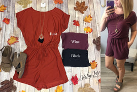 Fall Solid Short Sleeve Romper