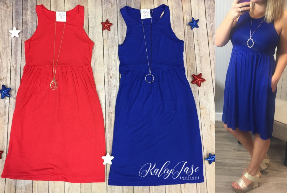 Patriotic Solid Tank Dress