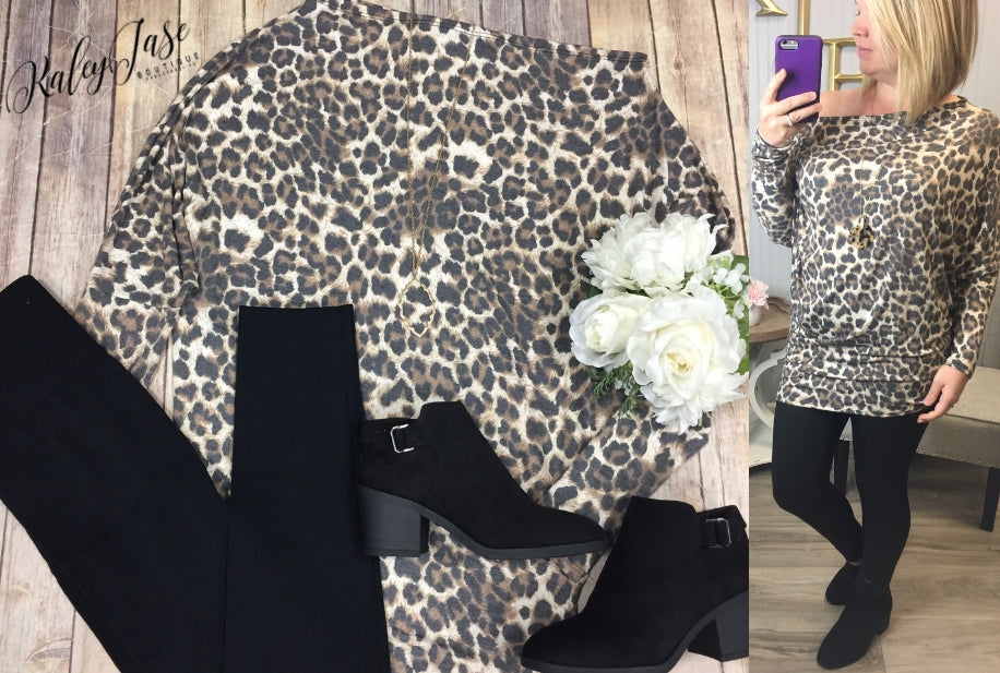 Leopard Slouchy Off Shoulder Top