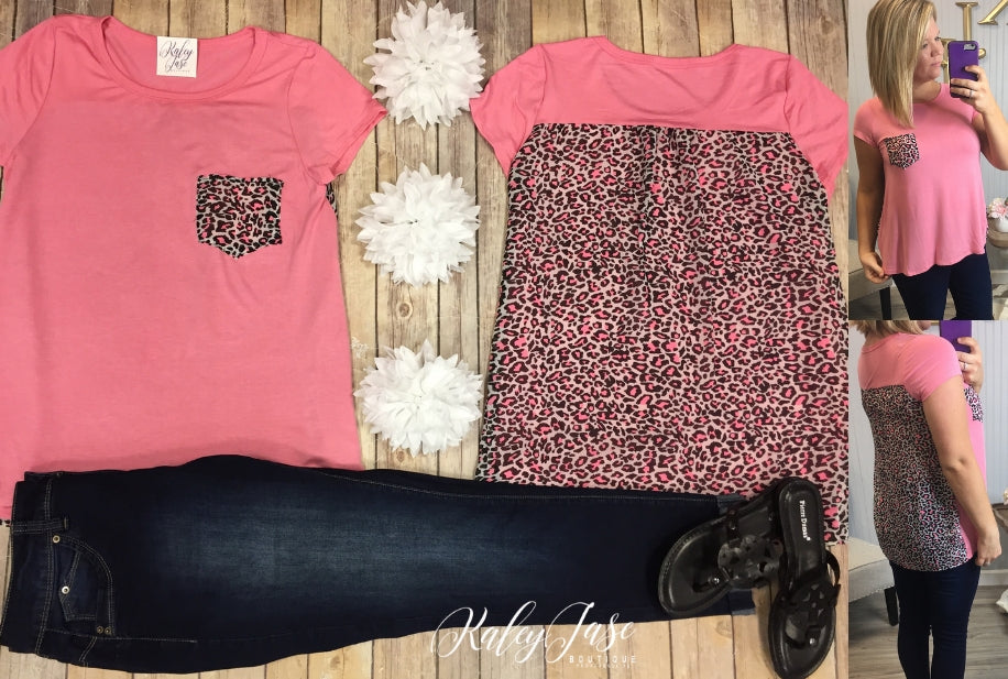 Pink with Neon Coral Leopard Back