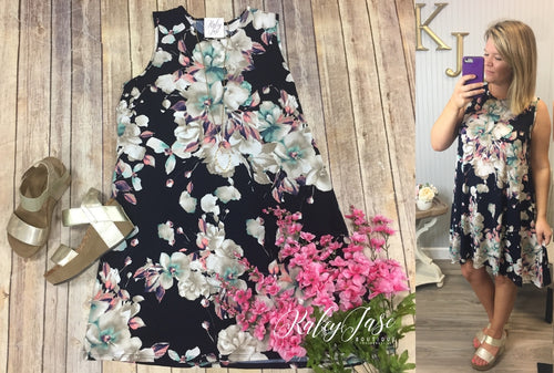 Navy Floral Sleeveless Swing Dress
