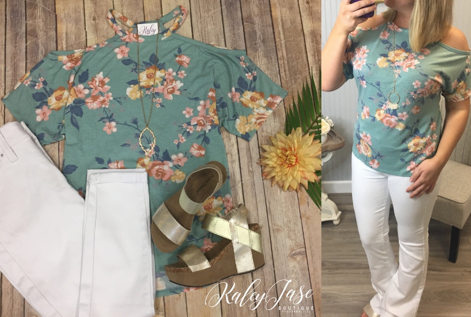 Sage Floral Open Shoulder Top