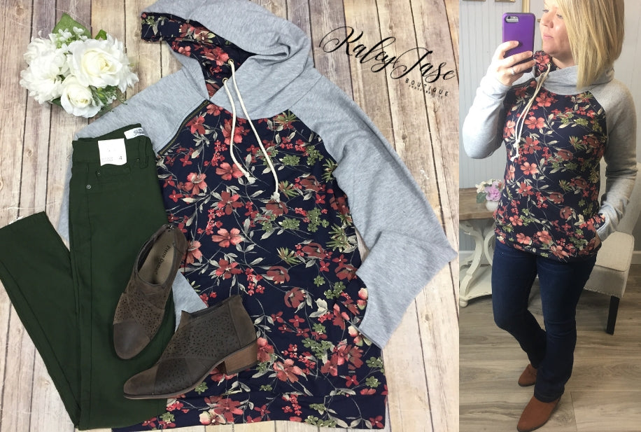 Heather/Navy Floral Double Hoodie