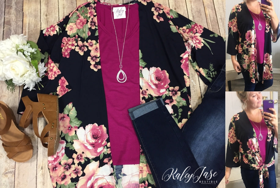 Dark Navy Fall Floral Cardigan