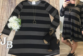 Black Mocha Stripe Sweater Dress