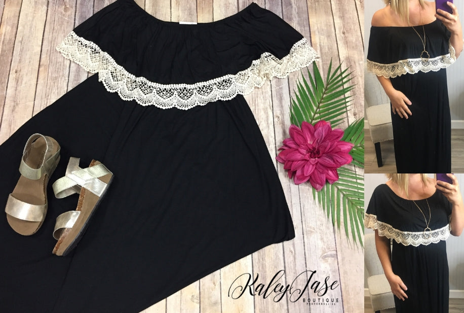 Black Crochet Accented 3 Way Maxi