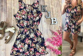Navy Fall Floral Romper *Final Sale*