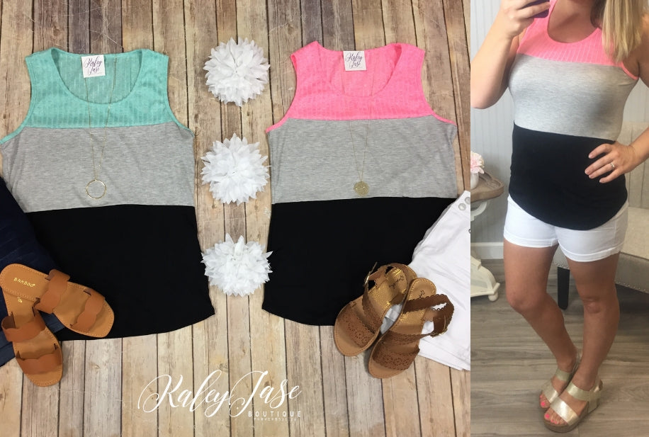 Neon Pink or Mint Colorblock Tank