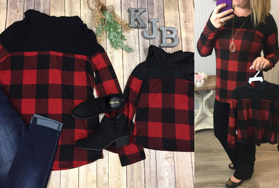 Red buffalo plaid hoodie - Mommy & Me