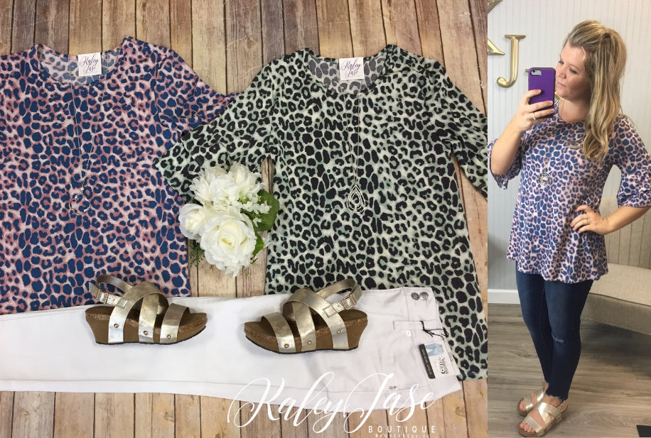 Color Combo Leopard Ruffle Top