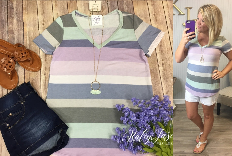 Pastel Multi Color Stripe Top