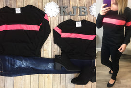 Black & Neon Pink Stripe Top - Mommy & Me