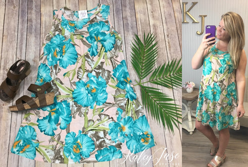 Blush & Aqua Tropical Floral Dress