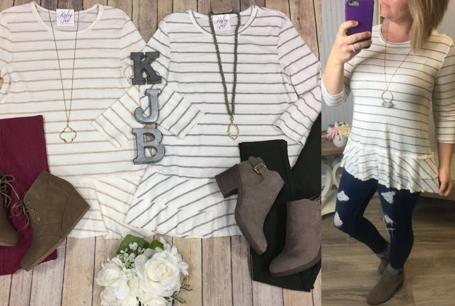Stripe Waffle Tiered Top
