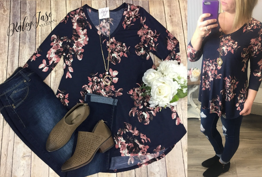 HM Navy &Pink Floral Vneck Top (Regular & Plus)
