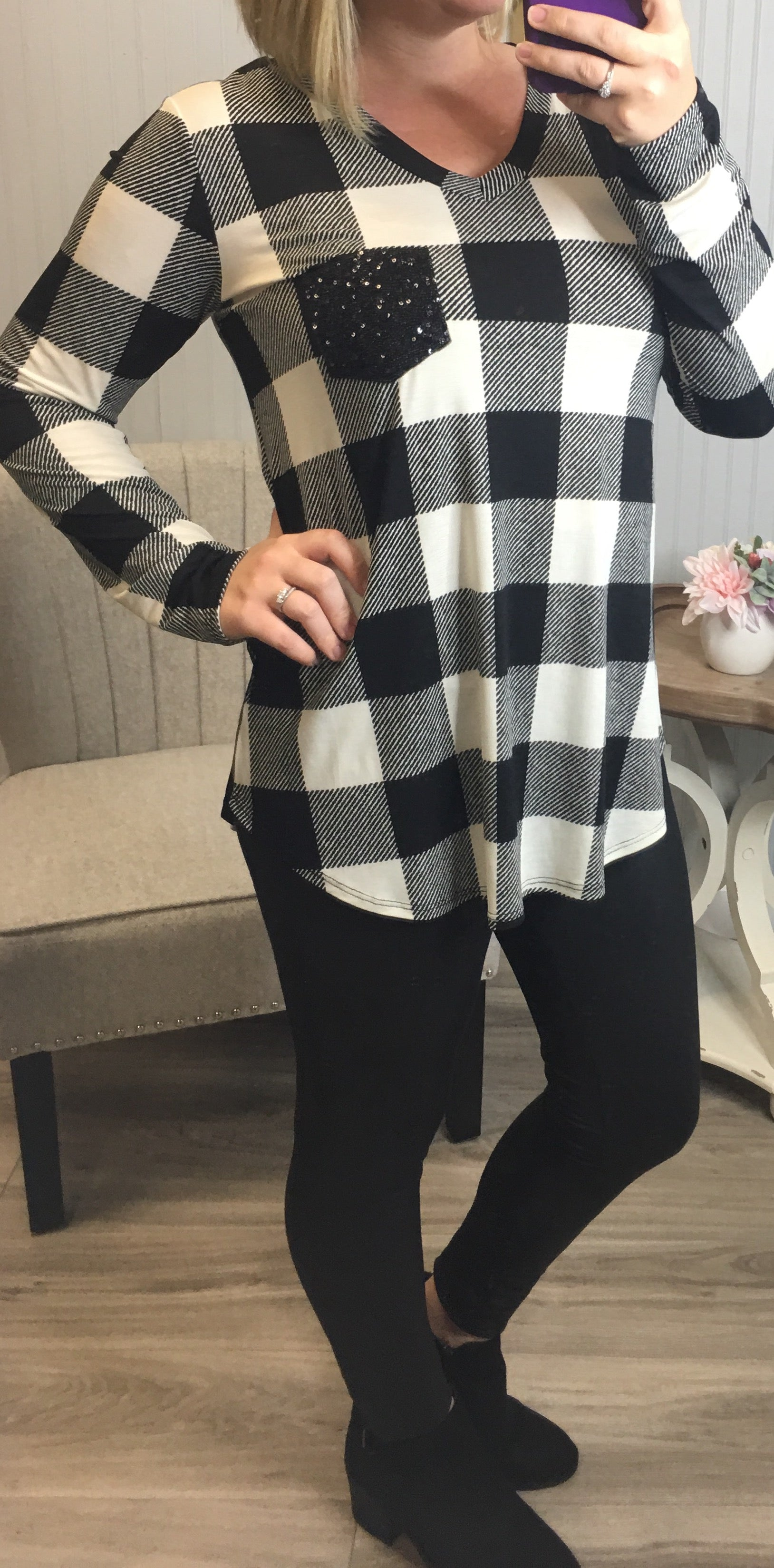 Buffalo Plaid Sequin Pocket Top