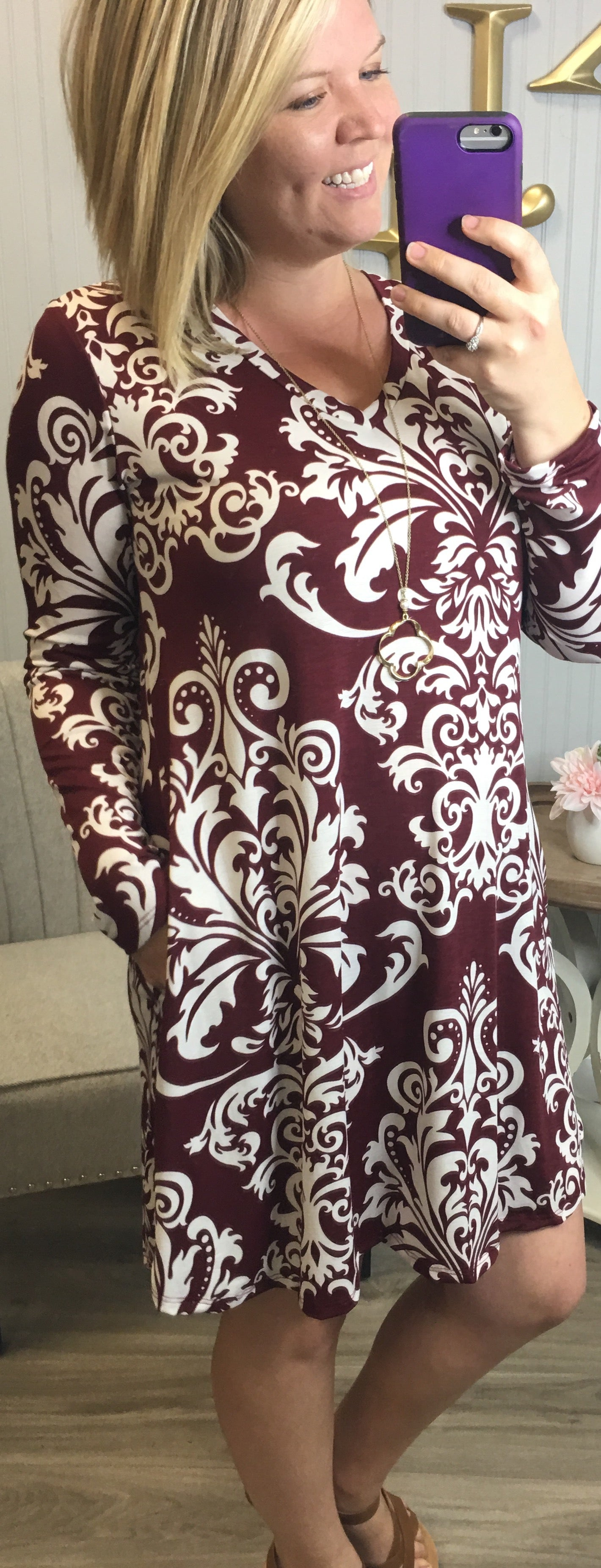 Wine Damask Vneck Dress