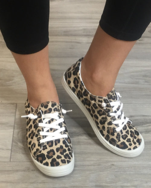 Canvas Leopard Slide On Sneakers