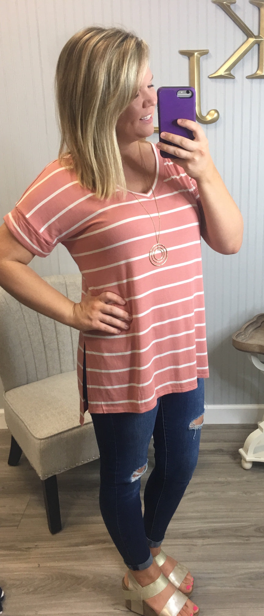 Deal of the Day Stripe Cuff Sleeve Top