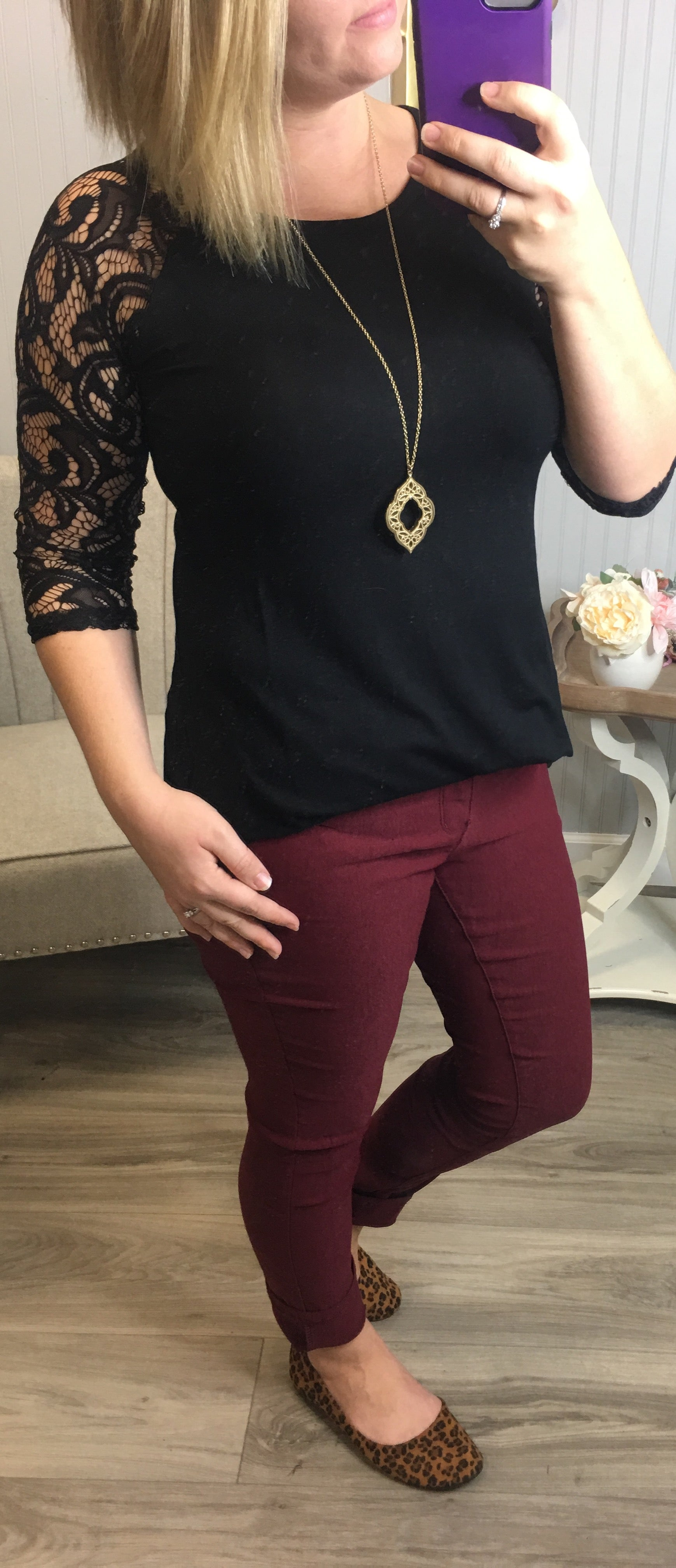 Z Black Lace Sleeve Top