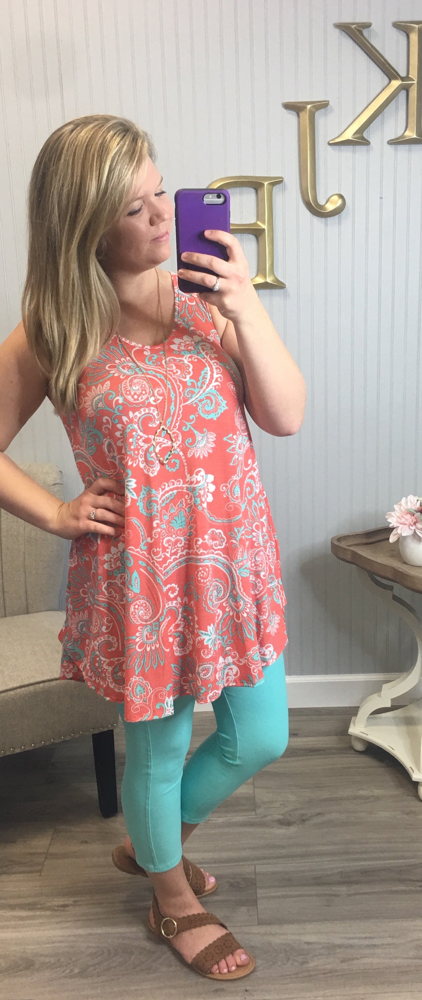 Bright Paisley Vneck Tunic/Dress