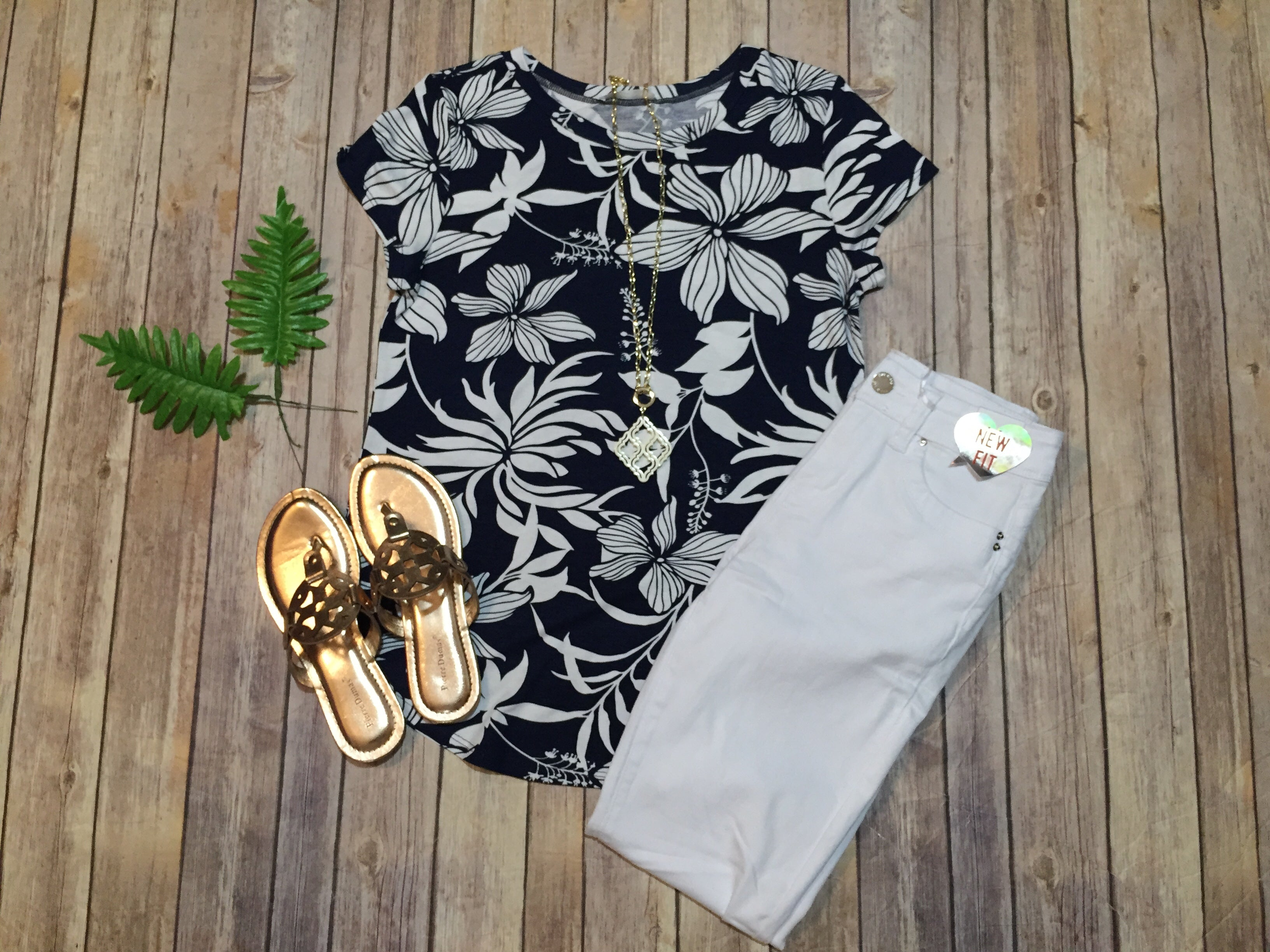Navy Tropical Tee