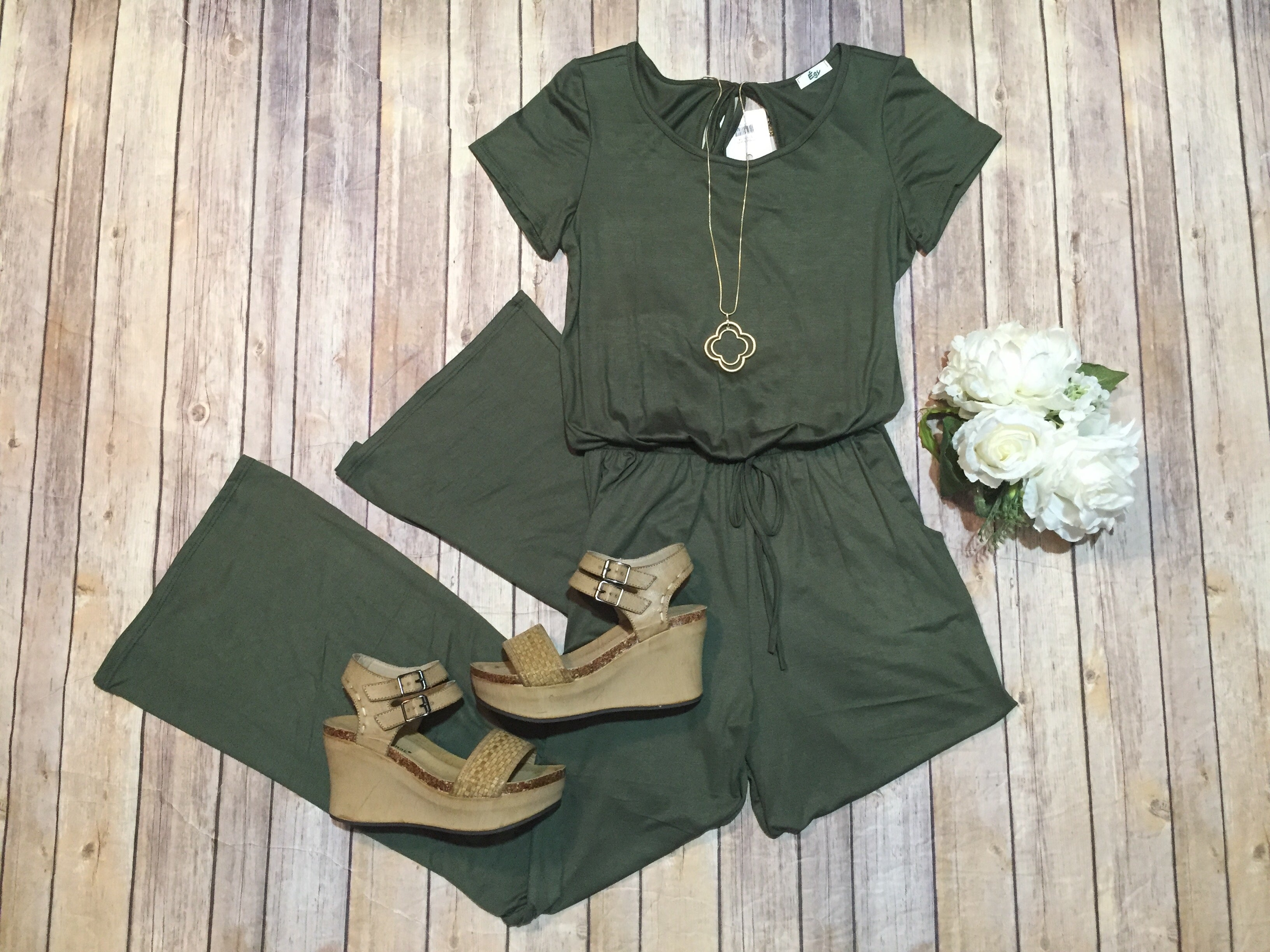 Olive Loose Short sleeve Jumpsuit