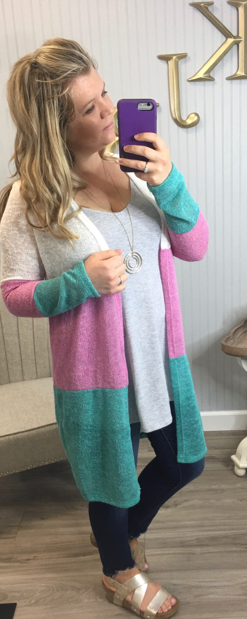 Spring Colorblock Cardigan