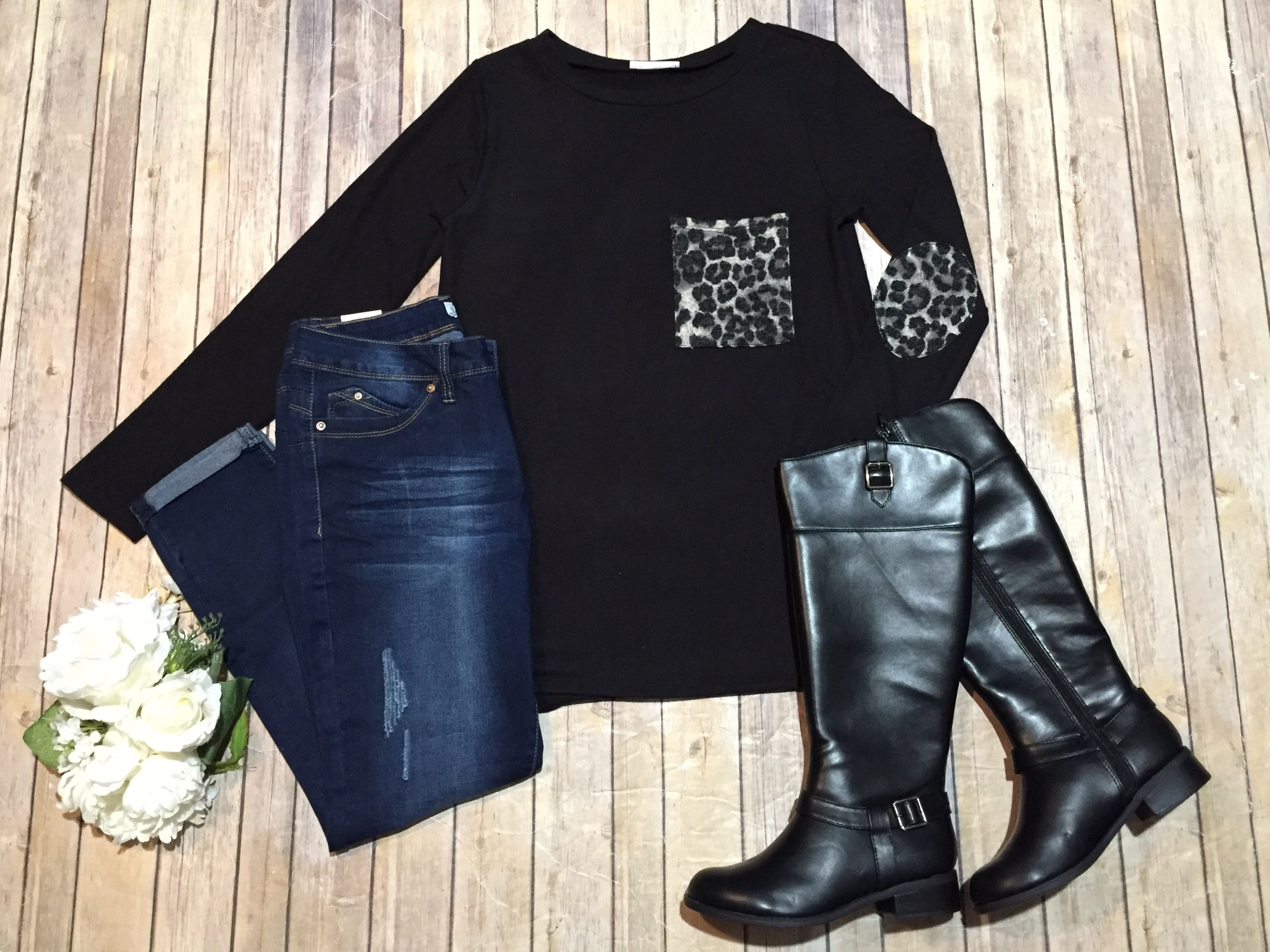 Black Leopard Contrast Sweater