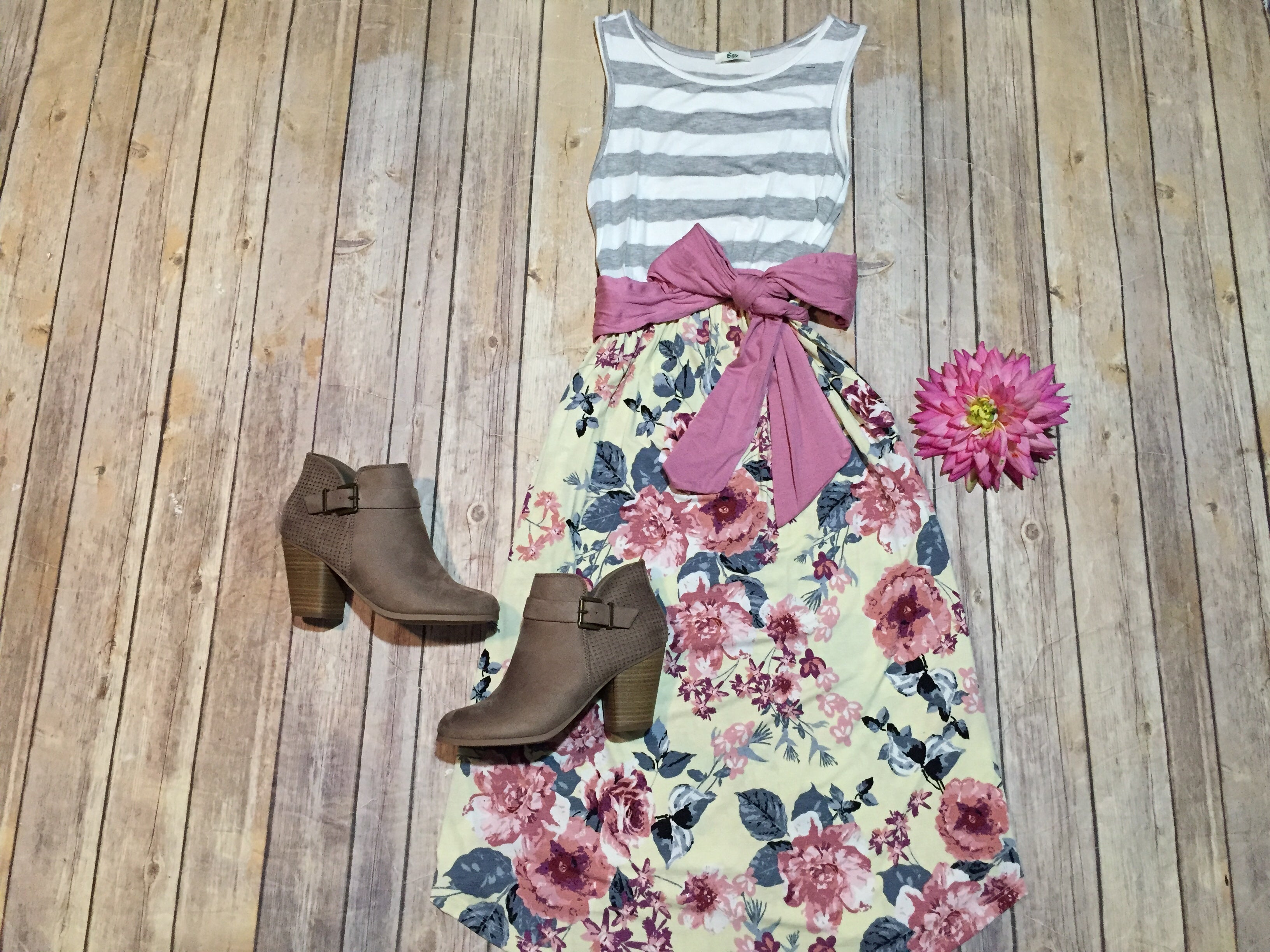 Sleeveless Stripe Yellow Floral Dress