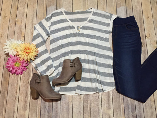 Grey Stripe Pleated Top