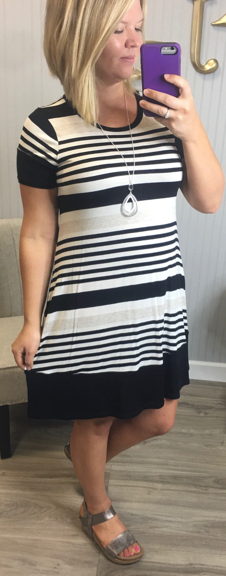 Black Stripe Oatmeal Short Sleeve Dress