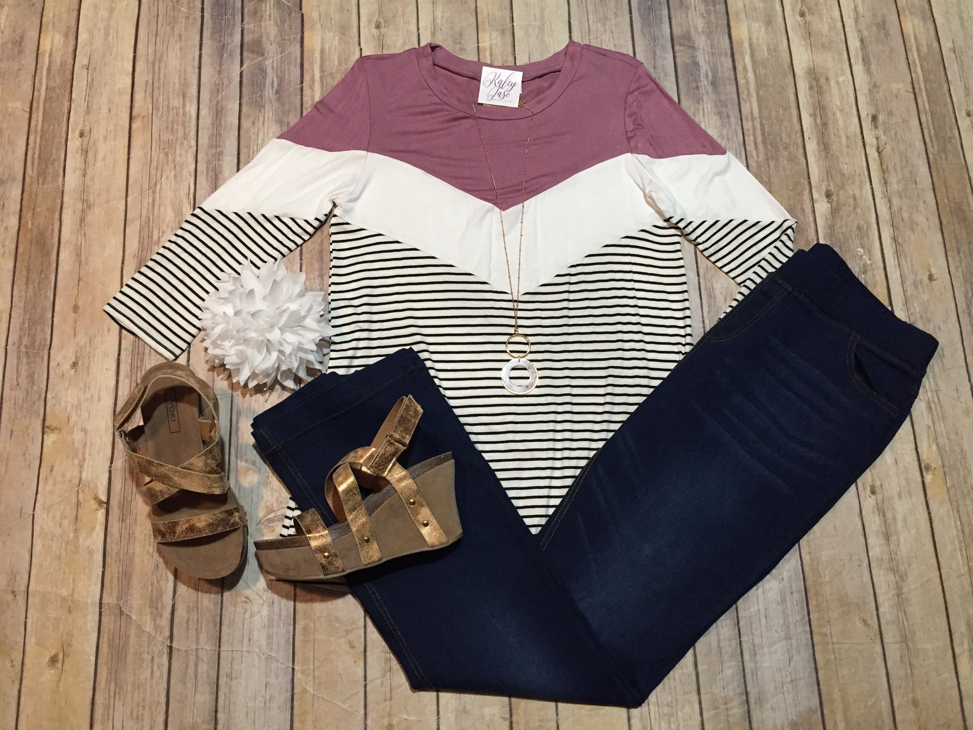 Lavender Colorblock Stripe Top