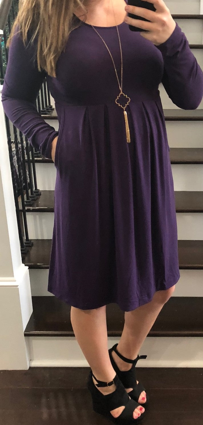 Deal of the Day Long Sleeve Pleated Dress