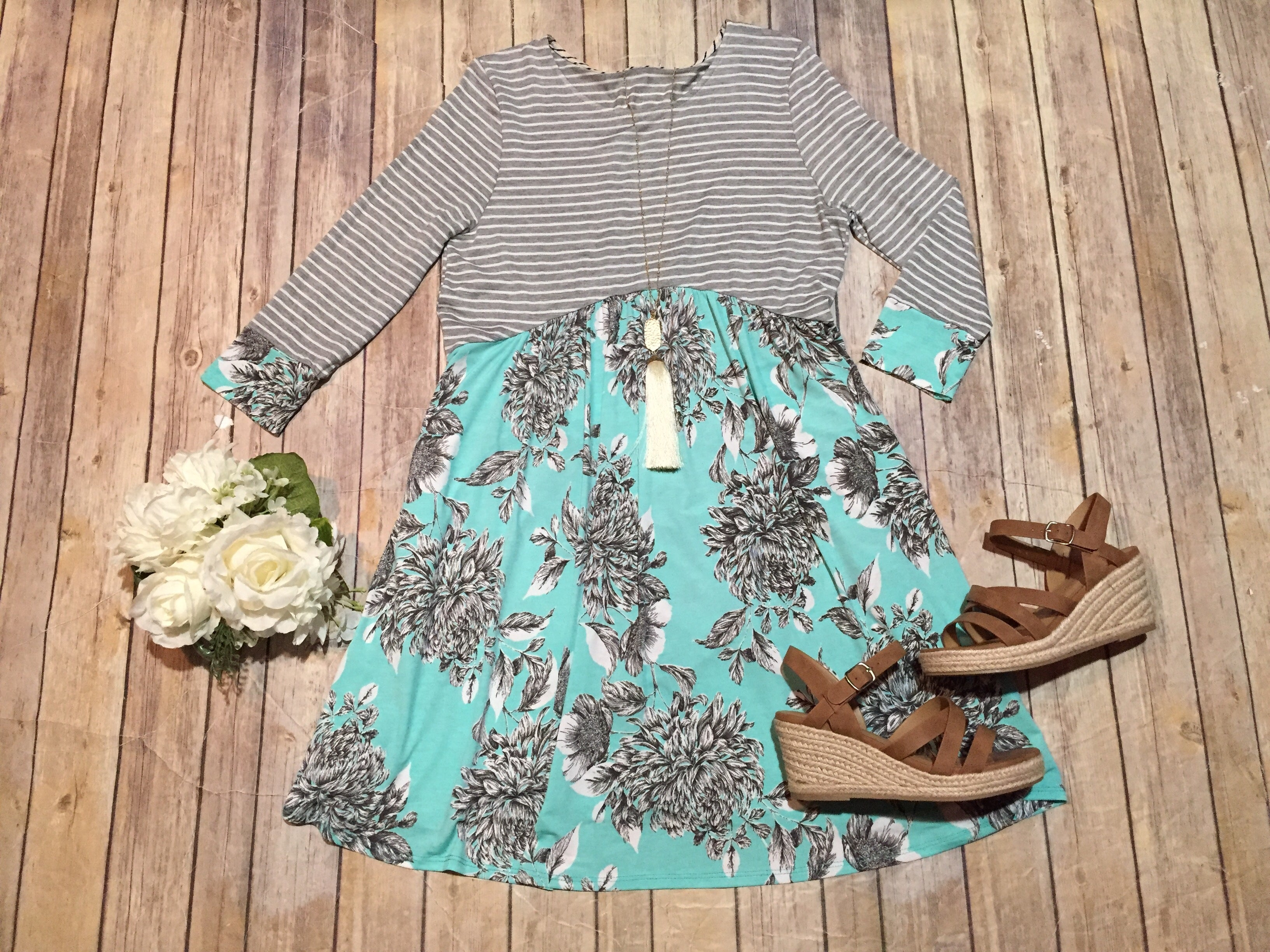 Mint Floral Accent Stripe Dress