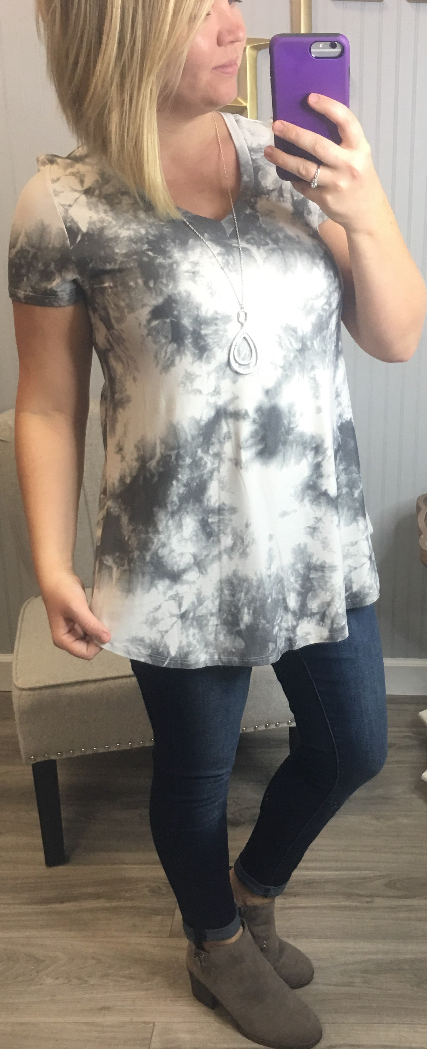 HM Grey Tie Dye Short Sleeve Top
