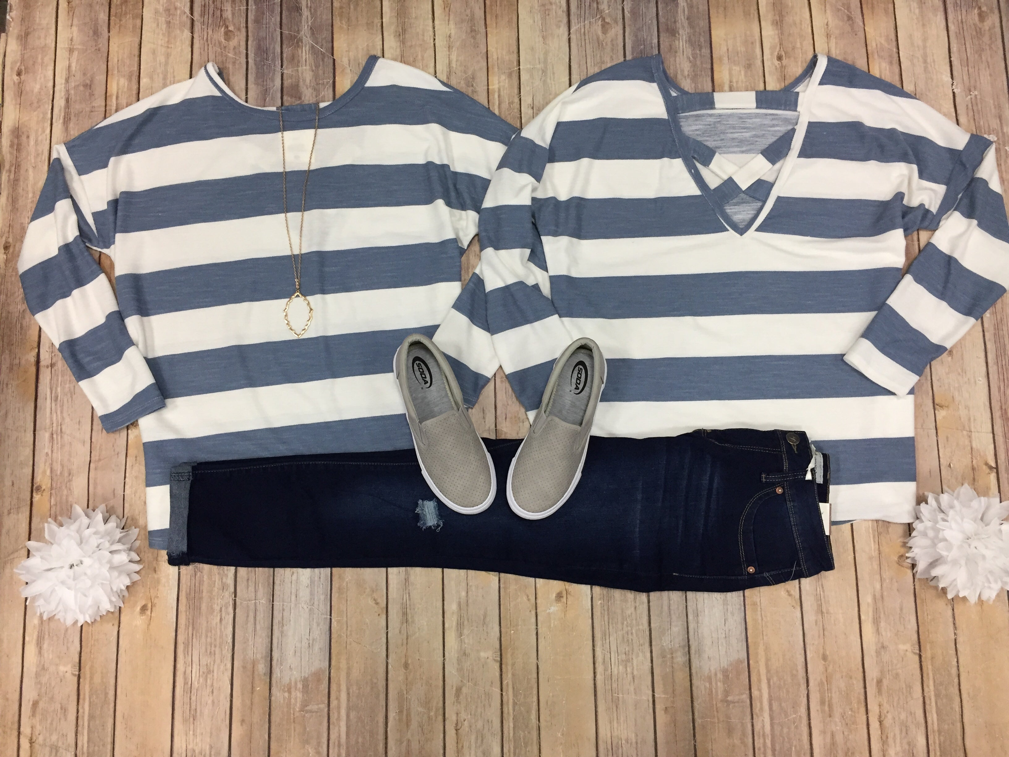 Chambray Stripe Cross Back Top