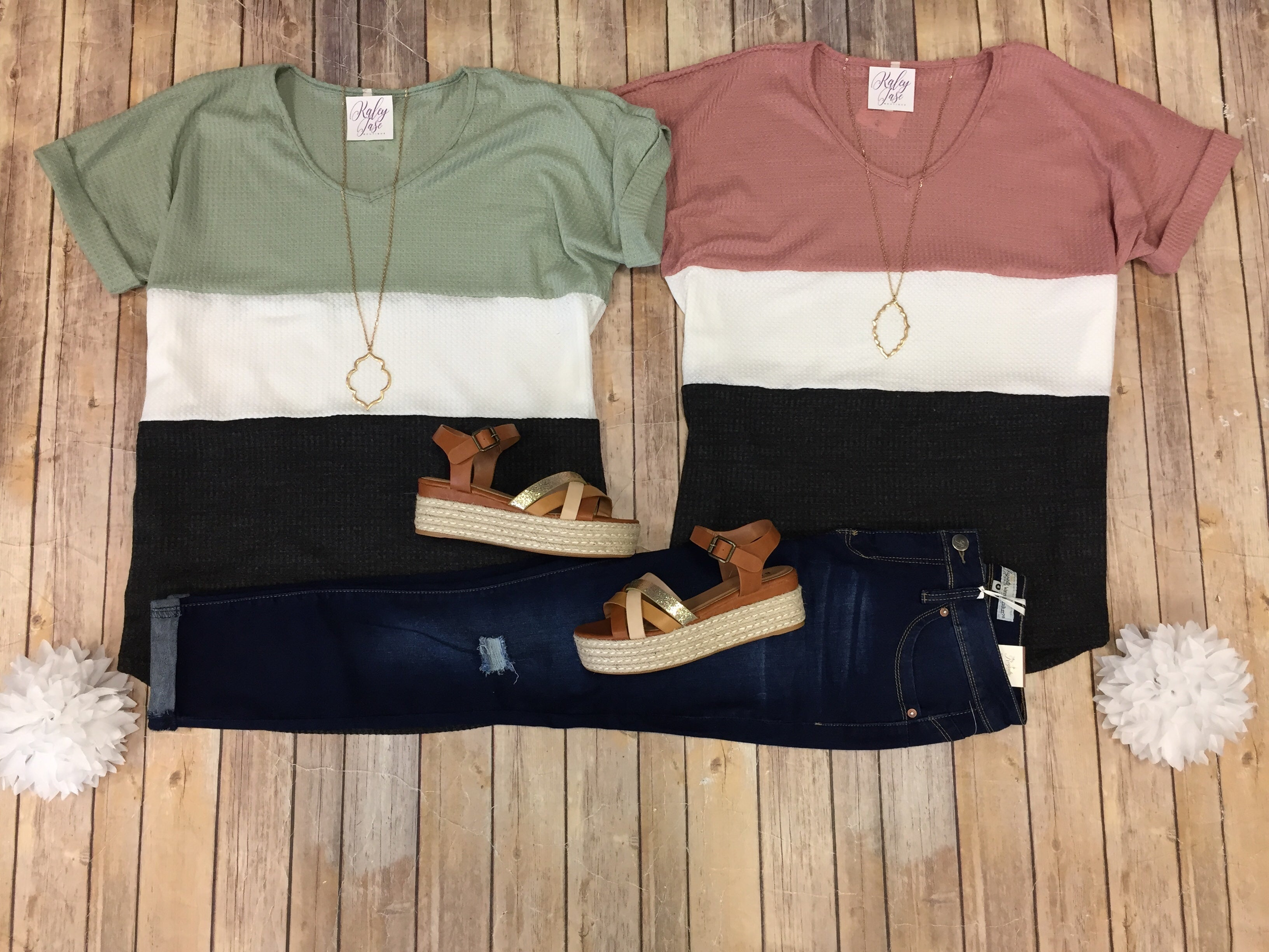 Waffle Cuffed Colorblock Top