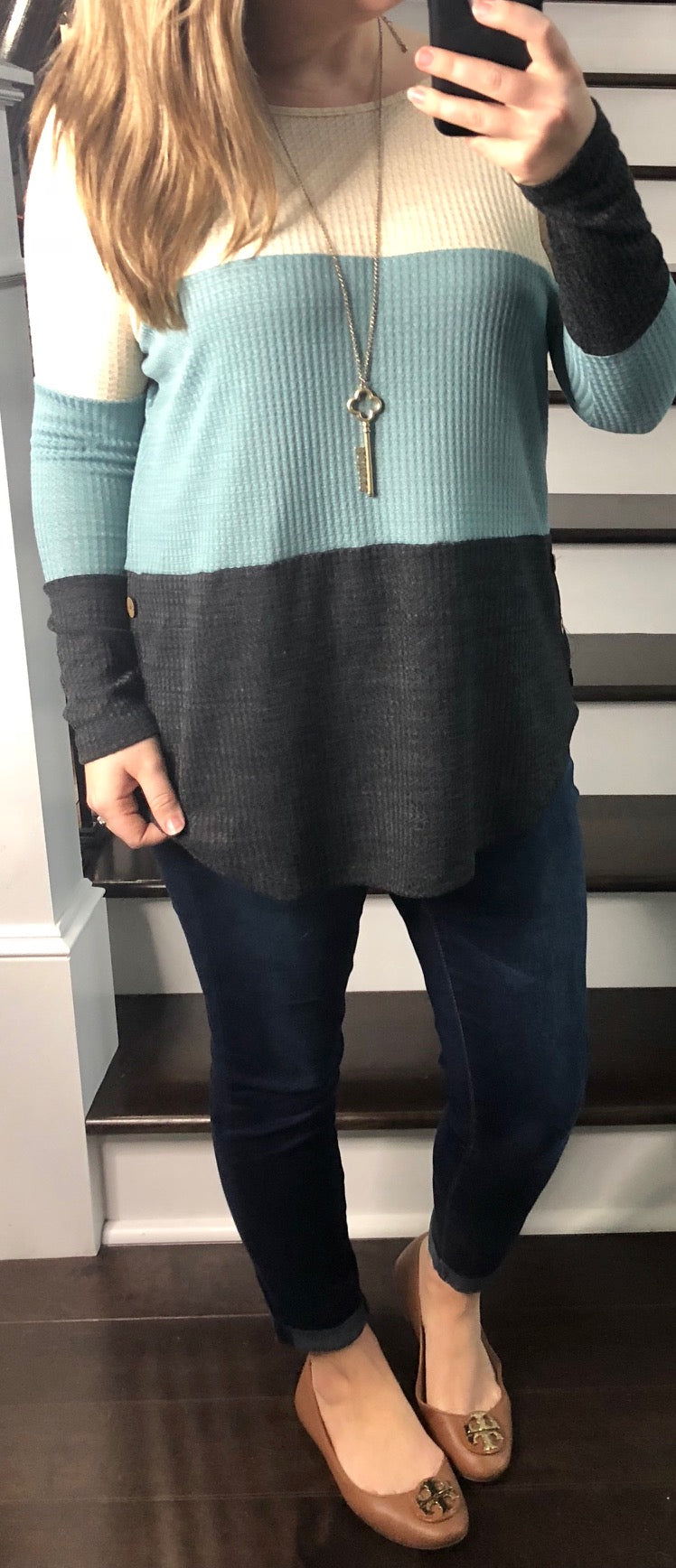 Waffle Button Colorblock Tunic