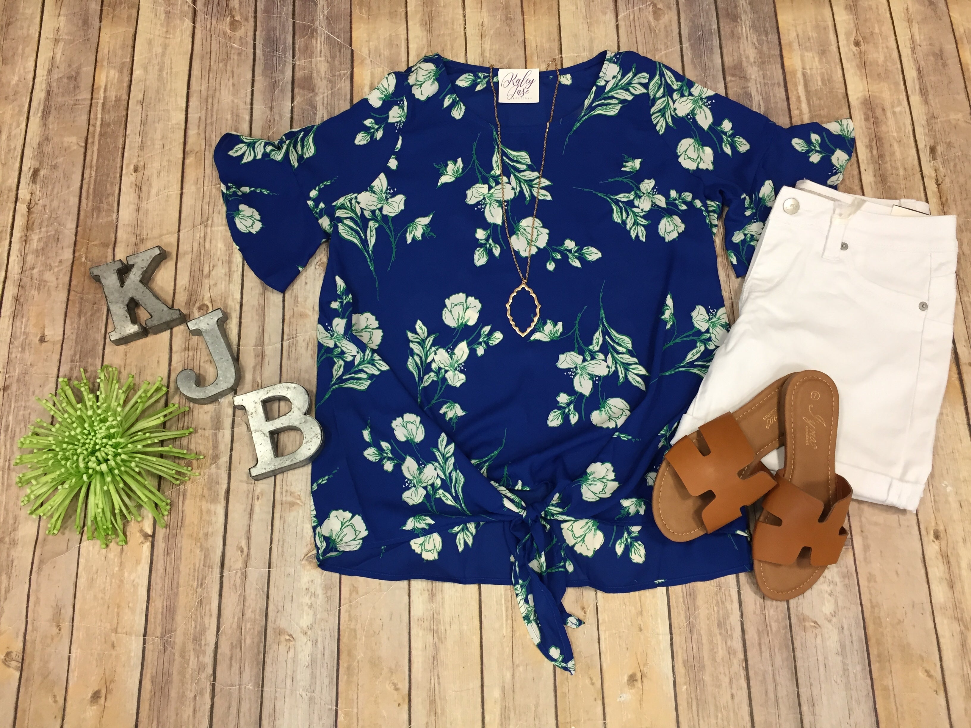 Deal of the Day Blue Floral Tie Top