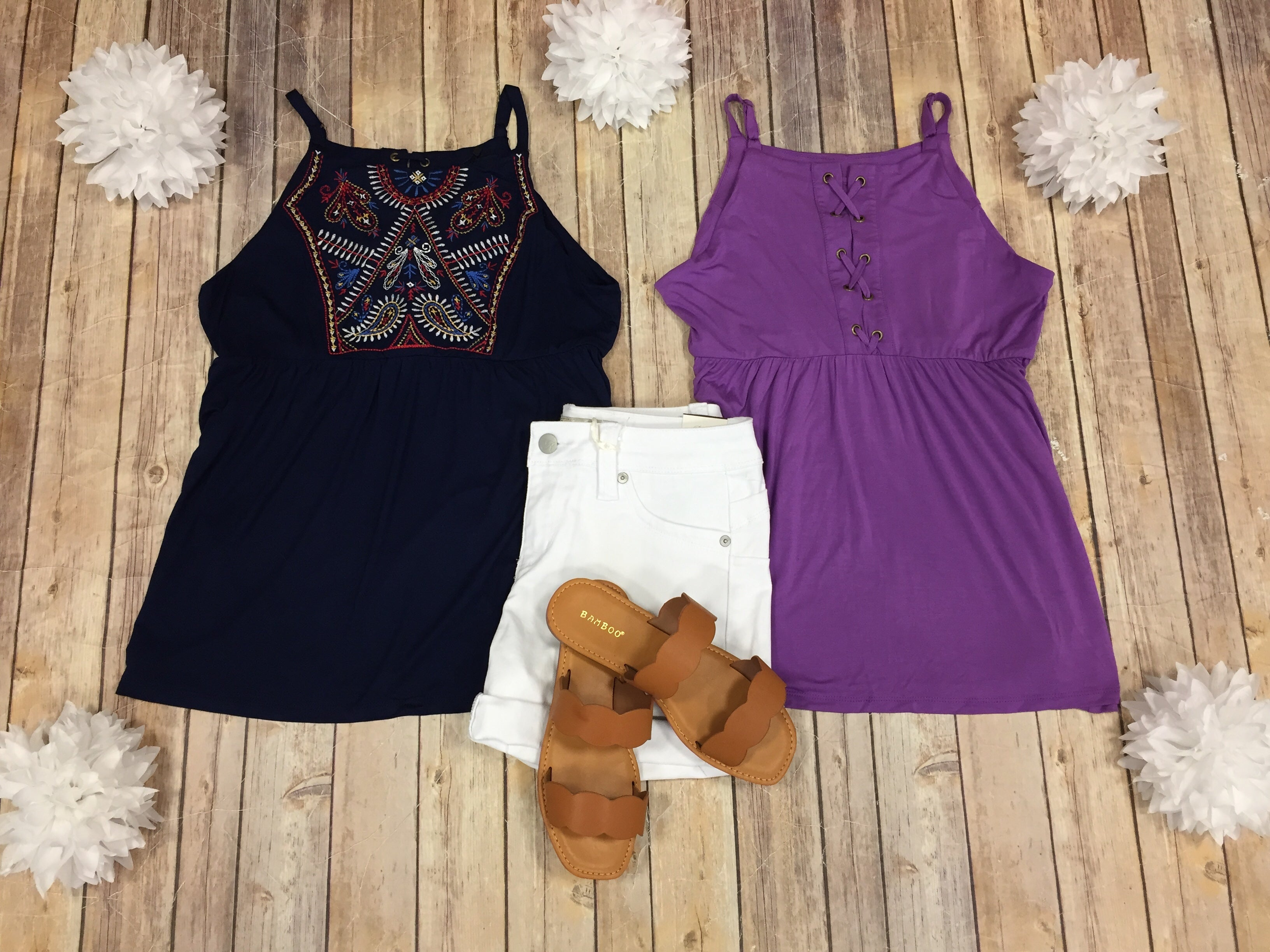 Embroidered Lace Up Back Tank