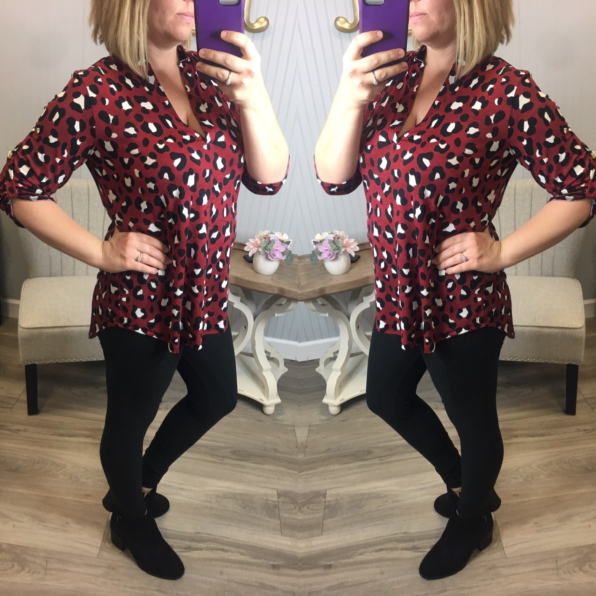 Red Leopard Dressy Top